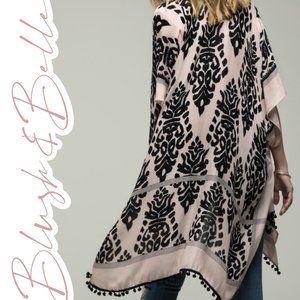 FLORENCE Black & Cream Damask Print Pom Pom Kimono